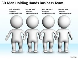 3D Men Holding Hands Business Team Ppt Graphics Icons