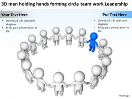 3D men holding hands forming circle team work Leadership Ppt Graphic Icon