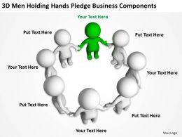 3D men holding hands pledge business components Ppt Graphics Icons
