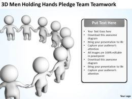 3D Men holding hands pledge Team Teamwork Ppt Graphic Icon