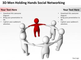 3D Men Holding Hands Social Networking Concept Ppt Graphics Icons