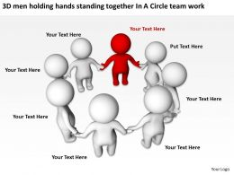 3D men holding hands standing together In A Circle team work Ppt Graphic Icon