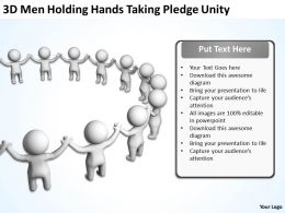 3D Men holding hands taking pledge Unity Ppt Graphic Icon