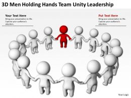 3D Men Holding Hands Team Unity Leadership Ppt Graphics Icons