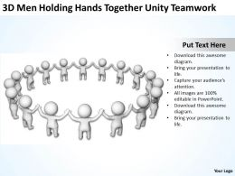 3D Men holding hands together unity Teamwork Ppt Graphic Icon