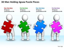 3D Men Holding Jigsaw Puzzle Pieces Business Concept Ppt Graphics Icons