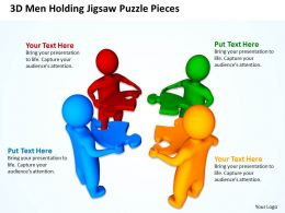 3D Men Holding Jigsaw Puzzle Piecess Teamwork Business Ppt Graphics Icons