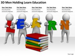3D Men Holding Learn Education Ppt Graphics Icons Powerpoint