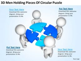 3D Men Holding Pieces Of Circular Puzzle Ppt Graphics Icons Powerpoint