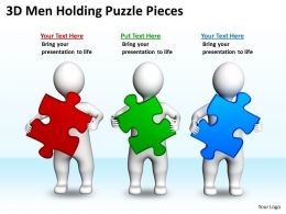 3D Men Holding Puzzle Pieces Ppt Graphics Icons