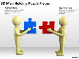 3D Men Holding Puzzle Pieces Ppt Graphics Icons Powerpoint