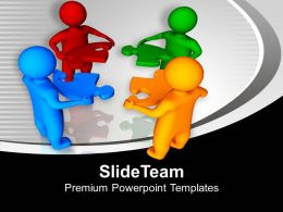 3d Men Holding Puzzle Pieces Solution PowerPoint Templates PPT Themes And Graphics 0113