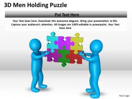 3D Men Holding Puzzle Ppt Graphics Icons