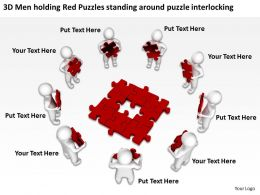 3d_men_holding_red_puzzles_standing_around_puzzle_interlocking_ppt_graphic_icon_Slide01