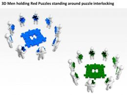 3D Men holding Red Puzzles standing around puzzle interlocking Ppt Graphic Icon