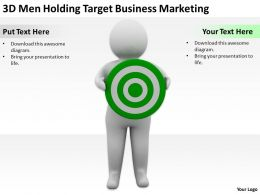 3D Men Holding Target Business Marketing Ppt Graphics Icons Powerpoint