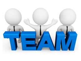 3D Men Holding Team Graphic Stock Photo