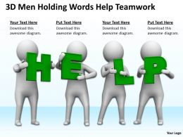 3D Men Holding Words Help Teamwork Ppt Graphics Icons Powerpoint