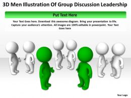 3D Men Illustration Of Group Discussion Leadership Ppt Graphics Icons
