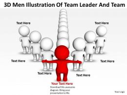 3D Men Illustration Of Team Leader And Team Ppt Graphics Icons