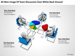 3D Men Image Of Team Discussion Over White Background Ppt Graphics Icons