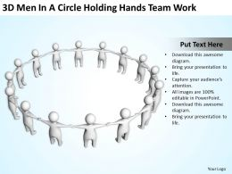 3D men In A Circle holding hands team work Ppt Graphics Icons