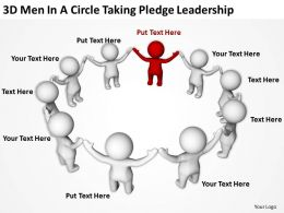3D men In A Circle taking pledge Leadership Ppt Graphics Icons