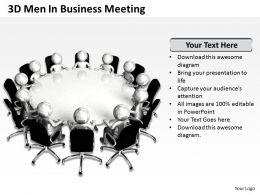 3D Men In Business Meeting Ppt Graphic Icon