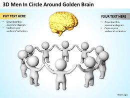 3D Men In Circle Around Golden Brain Ppt Graphics Icons Powerpoint
