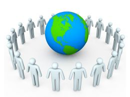 3D Men In Circle Around The Globe Stock Photo