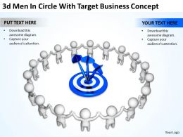 3D Men In Circle With Target Business Concept Ppt Graphics Icons