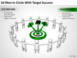 3D Men In Circle With Target Success Ppt Graphics Icons