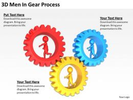 3D Men In Gear Process Ppt Graphics Icons