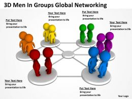 3D Men In Groups Global Networking Ppt Graphics Icons