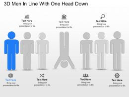 3d Men In Line With One Head Down Powerpoint Template Slide