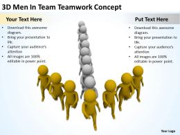 3D Men In Team Teamwork Concept Ppt Graphic Icon