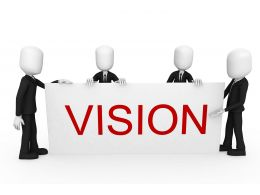 3D Men In Team With Word Vision Stock Photo
