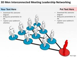 3D men Interconnected Meeting leadership Networking Ppt Graphics Icons