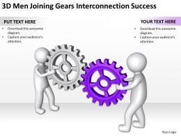3D Men Joining Gears Interconnection Success Ppt Graphics Icons