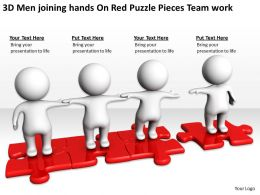 3D Men joining hands On Red Puzzle Pieces Team work Ppt Graphics Icons