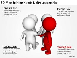 3D Men Joining Hands Unity Leadership Ppt Graphics Icons Powerpoint
