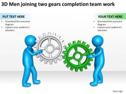 3D Men joining two gears completion team work Ppt Graphics Icons