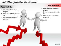 3d Men Jumping On Arrows Ppt Graphics Icons Powerpoint