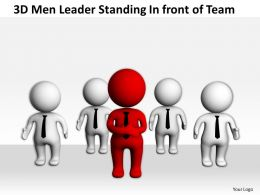 3D Men Leader Standing Infront of Team Ppt Graphics Icons Powerpoint