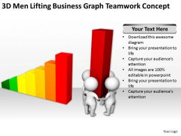 3D Men Lifting Business Graph Teamwork Concept Ppt Graphics Icons Powerpoint