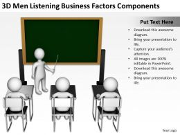 3D Men Listening Business Factors Components Ppt Graphics Icons