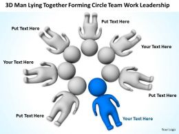 3D Men Lying Together forming circle Team work Leadership Ppt Graphic Icon