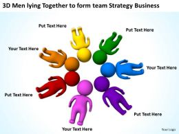 3D Men lying Together to form team Strategy Business Ppt Graphics Icons