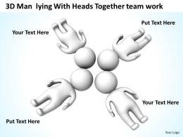3D Men Lying With Heads Together team work Ppt Graphic Icon