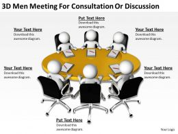 3D Men Meeting For Consultation Or Discussion Ppt Graphics Icons Powerpoint
